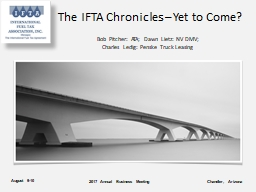 The IFTA Chronicles – Yet to Come?