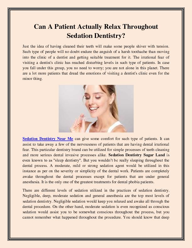 Can A Patient Actually Relax Throughout Sedation Dentistry