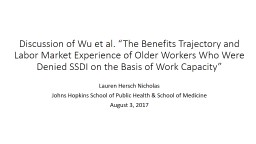 "Discussion of Wu et al. ""The Benefits Trajectory and Labor Market Experience of Older Workers Who"