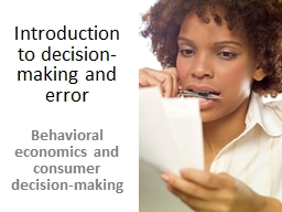 Introduction to decision- making and error