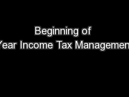 Beginning of Year Income Tax Management