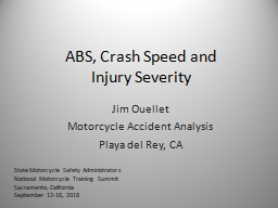 ABS, Crash Speed and  Injury Severity