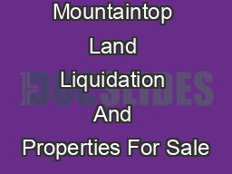 Mountaintop Land Liquidation And Properties For Sale