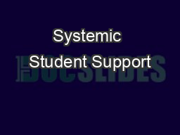 Systemic Student Support PowerPoint PPT Presentation