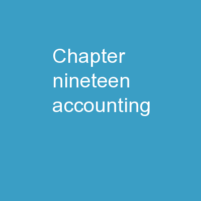 Accounting for Estates and Trusts - Chapter Nineteen