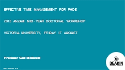 Effective Time Management for PhDs