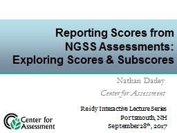 Reporting Scores from  NGSS Assessments