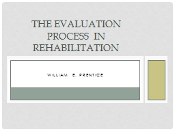 William E. Prentice The Evaluation Process in Rehabilitation