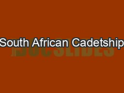 South African Cadetship