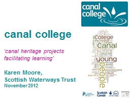 c anal college 'canal heritage projects