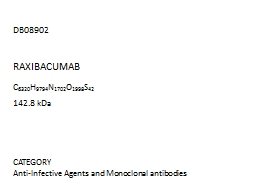 DB08902  CATEGORY Anti-Infective Agents and Monoclonal antibodies