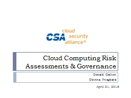 Cloud Computing Risk Assessments & Governance