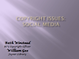Copyright Issues:  Social Media