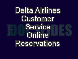 Delta Airlines Customer Service Online Reservations