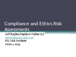 Compliance and Ethics Risk Assessments