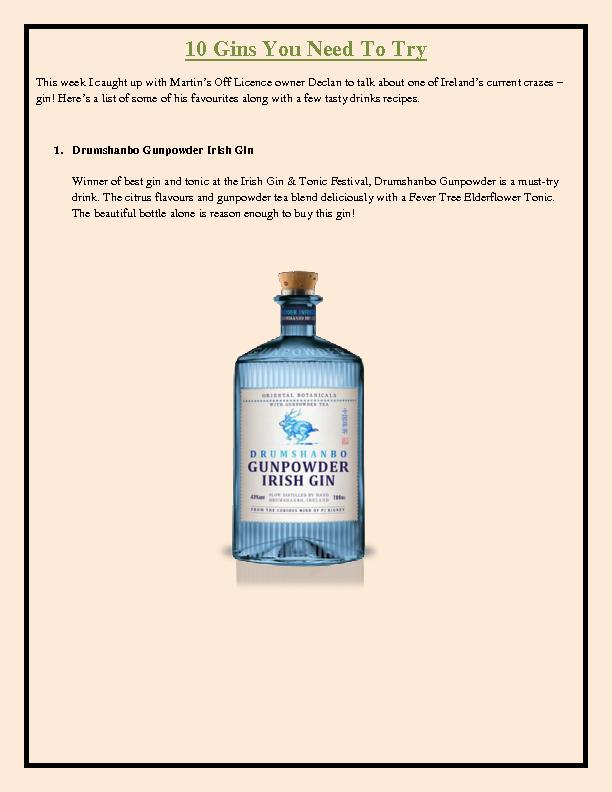10 Gins You Need To Try - Drumshanbo Gunpowder Irish Gin
