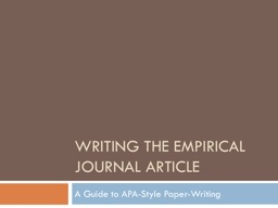 Writing the Empirical Journal Article