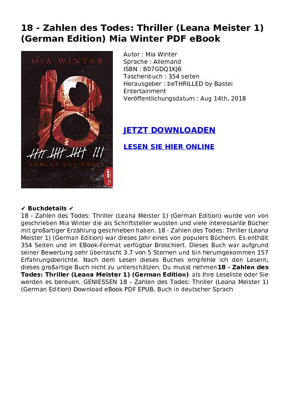 18 - Zahlen des Todes: Thriller (Leana Meister 1) (German Edition) Mia Winter