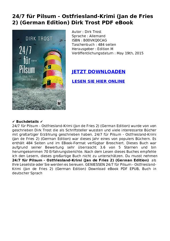 24/7 für Pilsum - Ostfriesland-Krimi (Jan de Fries 2) (German Edition) Dirk Trost PDF eBook