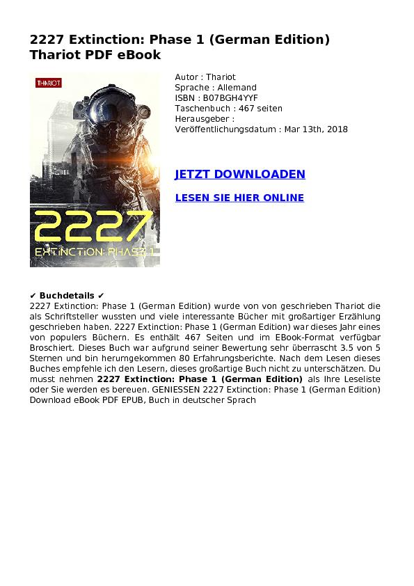 2227 Extinction: Phase 1 (German Edition) Thariot PDF eBook