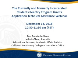 The Currently and Formerly Incarcerated Students Reentry Program Grants