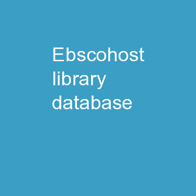 EBSCOHost library database