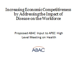 Proposed ABAC Input to APEC High Level Meeting on Health