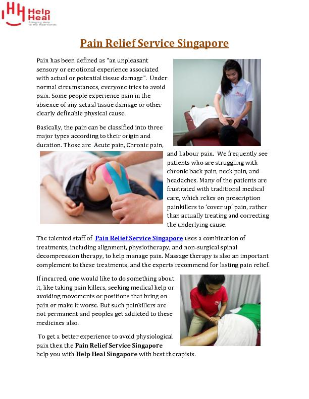 Pain Relief Service Singapore