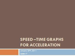 Speed –Time Graphs for