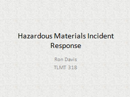 Hazardous Materials Incident Response