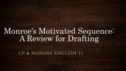 Monroe's Motivated Sequence: A Review for Drafting PowerPoint PPT Presentation