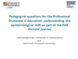 Pedagogical questions for the Professional Doctorate in Education: understanding the epistemologica