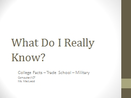 What Do I Really Know? College Facts � Trade School � Military