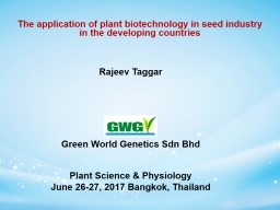 2 The application of plant biotechnology in seed industry in the�developing countries