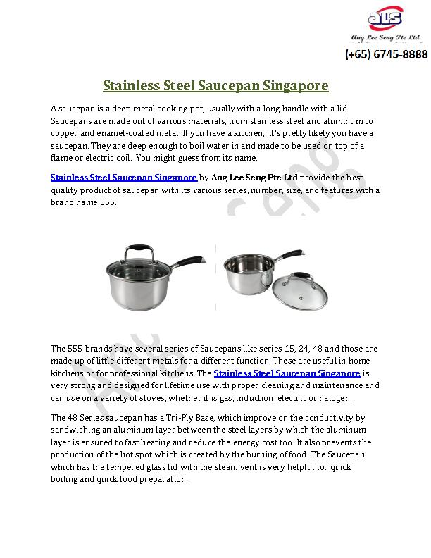 Stainless Steel Saucepan Singapore