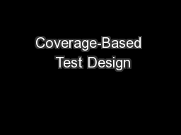 Coverage-Based  Test Design