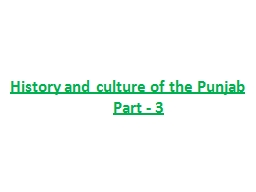 History and culture of the Punjab      Part - 3