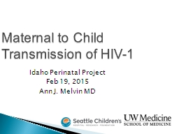 Maternal to Child Transmission of HIV-1