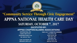 NHCD GOALS Nationwide Health Care Awareness Initiative on behalf of APPNA