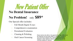New Patient Offer No Dental Insurance