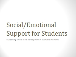 Social/Emotional Support for Students