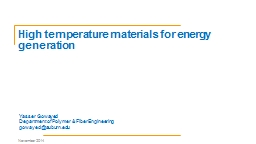 High temperature materials for energy generation