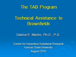 The TAB Program Technical Assistance to