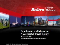 Developing and Managing A Successful Travel Policy