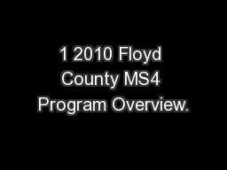 1 2010 Floyd County MS4 Program Overview.