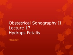 Obstetrical Sonography II