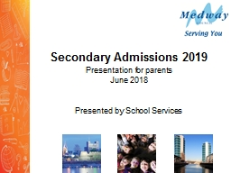 Secondary Admissions 2019