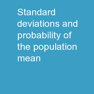Standard deviations and probability of the population mean