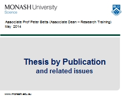 Associate  Prof Peter Betts (Associate Dean – Research Training) PowerPoint PPT Presentation