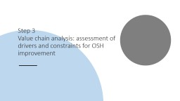 Step 3  Value chain analysis: assessment of drivers and constraints for OSH improvement